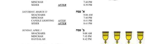 Pesach Schedule